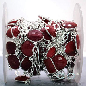 Ruby 15mm Mix Faceted Shapes Silver Plated Bezel Connector Chain