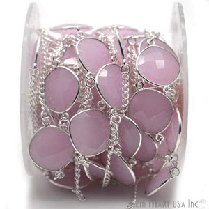 Rose Chalcedony 16mm Silver Plated Bezel Connector Chain
