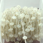 Rainbow Moonstone Beads Chain, Silver Plated wire wrapped Rosary Chain, Jewelry Making Supplies (SPRM-30078)