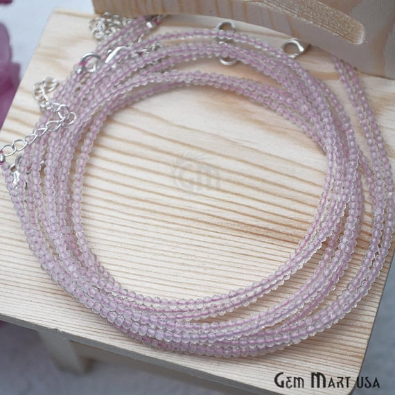 Rose Quartz Bead Chain, Silver Plated Jewelry Making Necklace Chain