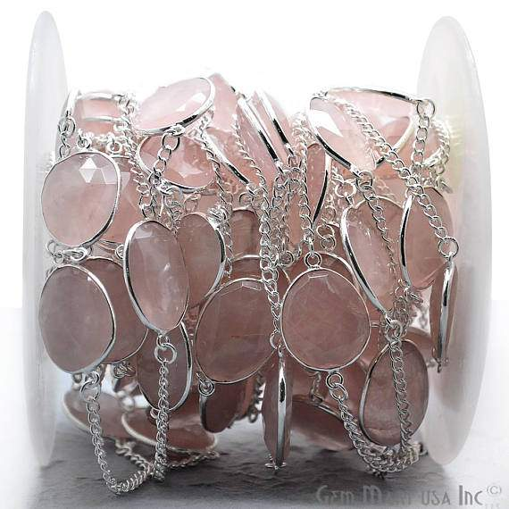 Rose Quartz Connector Chain, Silver Plated Continuous Connector Chain, Jewelry Making Supplies (SPRQ-20003)