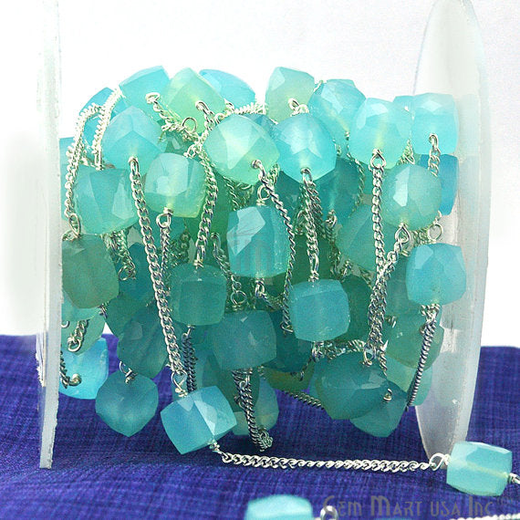 Sky Blue Chalcedony Beads Chain, Silver Plated wire wrapped Rosary Chain, Jewelry Making Supplies (SPSB-30032)
