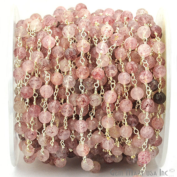 Strawberry Quartz Beads Chain, Silver Plated wire wrapped Rosary Chain, Jewelry Making Supplies (SPSQ-30038)