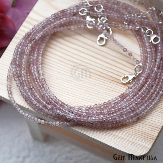Shaded Rose Quartz Bead Chain, Silver Plated Jewelry Making Necklace Chain
