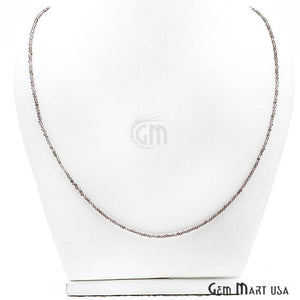Smokey Topaz Bead Chain, Silver Plated Jewelry Making Necklace Chain - GemMartUSA