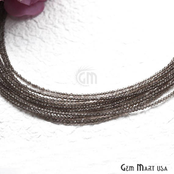 Smokey Topaz Bead Chain, Silver Plated Jewelry Making Necklace Chain
