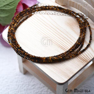 Tiger Eye Bead Chain, Silver Plated Jewelry Making Necklace Chain