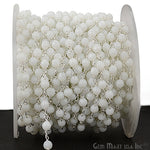 White Agate Beads Chain, Silver Plated wire wrapped Rosary Chain, Jewelry Making Supplies (SPTJ-30017)