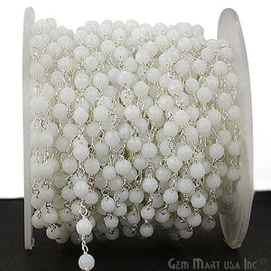 White Agate Beads Silver Plated Wire Wrapped Rosary Chain - GemMartUSA