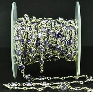 Tanzanite 4mm Round Silver Bezel Continuous Connector Chain