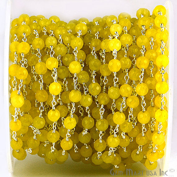 Yellow Jade Beads Chain, Silver Plated wire wrapped Rosary Chain, Jewelry Making Supplies (SPYJ-30014)