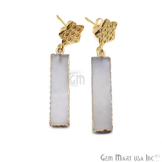 White Chalcedony Rectangle Shape 32x8mm Gold Plated Dangle Stud Earrings