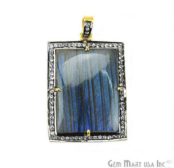 Labradorite Cabochon with White Topaz Pave Diamond Setting 38x27mm Gold Vermeil Gemstone Necklace Pendant