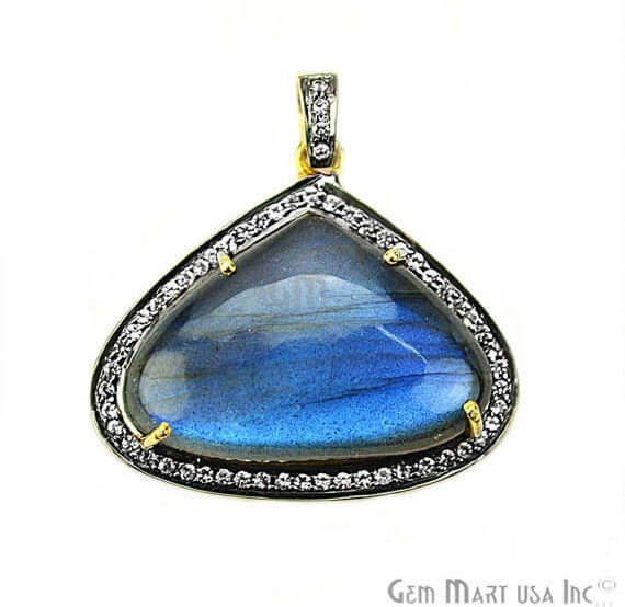Labradorite Cabochon with White Topaz Pave Diamond Setting 29x24mm Gold Vermeil Gemstone Necklace Pendant