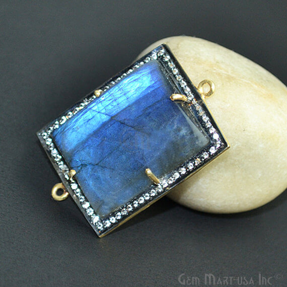 Blue Flash Labradorite Cabochon with White Topaz Pave Diamond Setting 24x36mm Gold Vermeil Gemstone Necklace Pendant