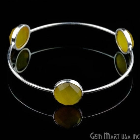 Natural Yellow Chalcedony 12mm Round Adjustable Interlock Silver Plated Bangle Bracelet