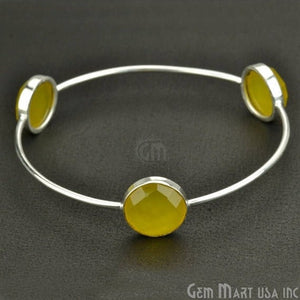 Natural Yellow Chalcedony 14mm Round Adjustable Interlock Silver Plated Stacking Bangle Bracelet - GemMartUSA