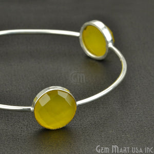 Natural Yellow Chalcedony 14mm Round Adjustable Interlock Silver Plated Stacking Bangle Bracelet