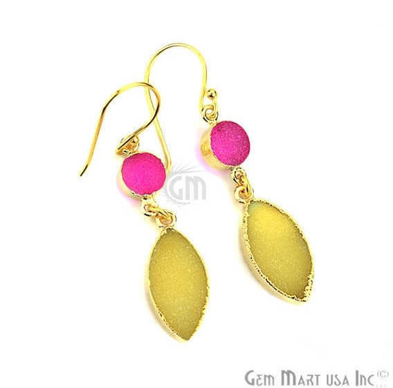 Yellow & Pink Druzy 10x50mm Gold Electroplated Gemstone Dangle Earring