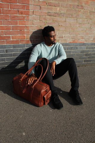 """VINTAGE CHILD X SUGSEAN """"DRAKE"""" LEATHER WEEKEND BAG WITH 2 END FLAP POCKETS"""