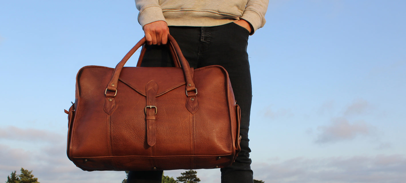 male model vintage style leather holdall bag weekend christmas gift