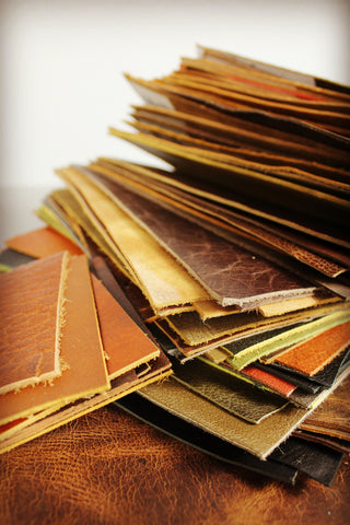 vintage child full grain leather swatches