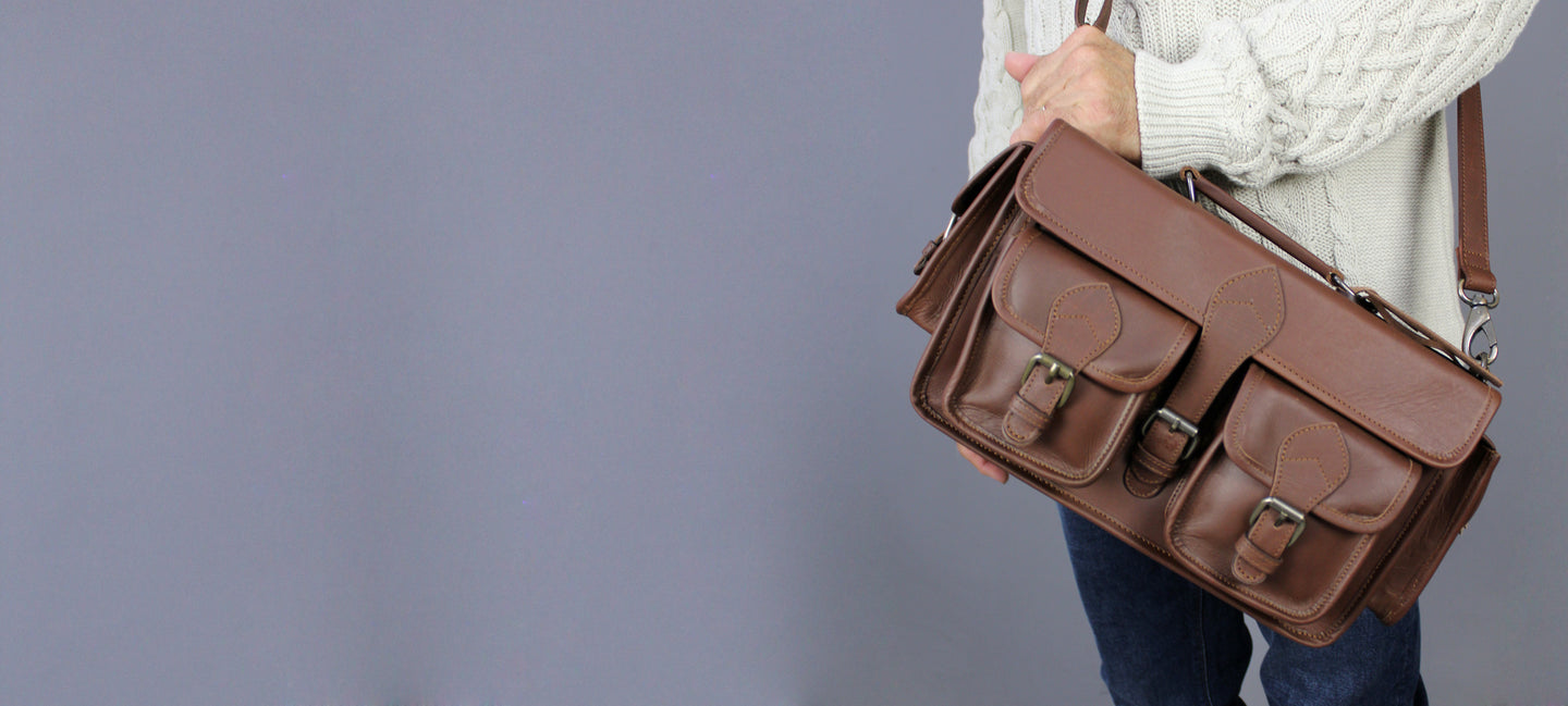 mens leather camera bag