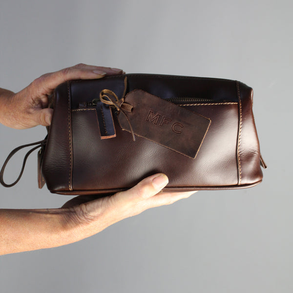 Zipped Leather Wash Bag Eco