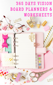 Yearly and month to month vision board planners to help you break down your vision board goals as recommended