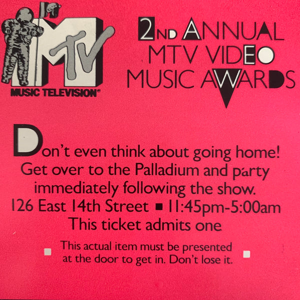 2nd Annual MTV Video Music Awards ticket