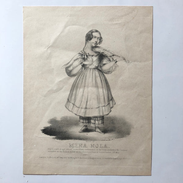 Mina Nola. Early Lithograph of a young violinist