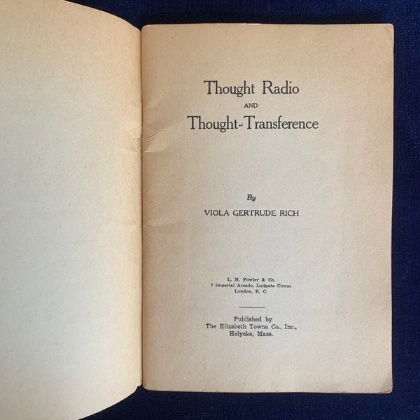Thought Radio and Thought Transference