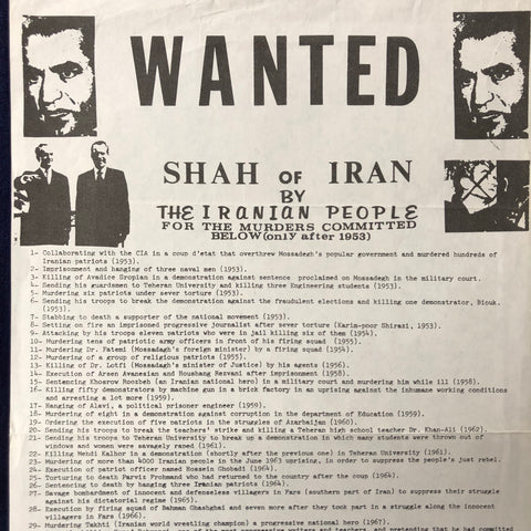 Wanted poster for Shah of Iran