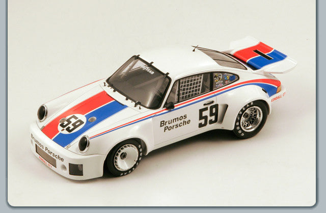 Spark 18DA75 1/18 Porsche 911 Carrera RSR 3.0 #59 Team Brumos Porsche (USA) Winner Daytona 24 Hours 1975 Peter Gregg - Hurley Haywood Spark Models Diecast Model Daytona Racing Car