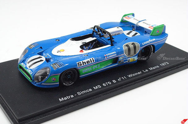 Spark 43LM73 1/43 Matra-Simca MS670B No.11 Winner 24 Hours of Le Mans 1973 Equipe Matra-Simca Shell Team Henri Pescarolo - Gérard Larrousse Resin Model LM Racing Car