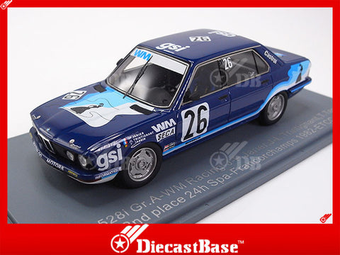 NEO 45667 1/43 BMW 528i Group.A WM Racing No.26 2nd 24 hours Spa-Francorchamps 1982 ETCC J-P.Jarier - J-L.Trintignant - T.Tassin Resin Model Racing Car NEO scale models