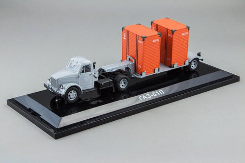 DiP Models 905101/AD4322A 1/43 GAZ-51P Tractor Grey + T-213 Trailer Grey Resin Model Road Car