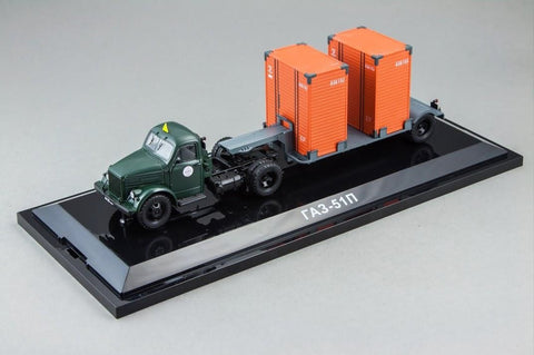 DiP Models 905103/AD4322C 1/43 GAZ-51P Tractor Dark Green + T-213 Trailer Dark Grey Diecast Model Road Car