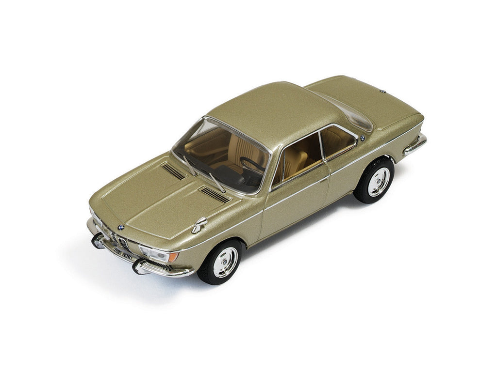 IXO CLC256 1/43 BMW 2000 CS 1966 Metallic Champagne (Interior Beige) IXO Models Diecast Model Classic Road Car