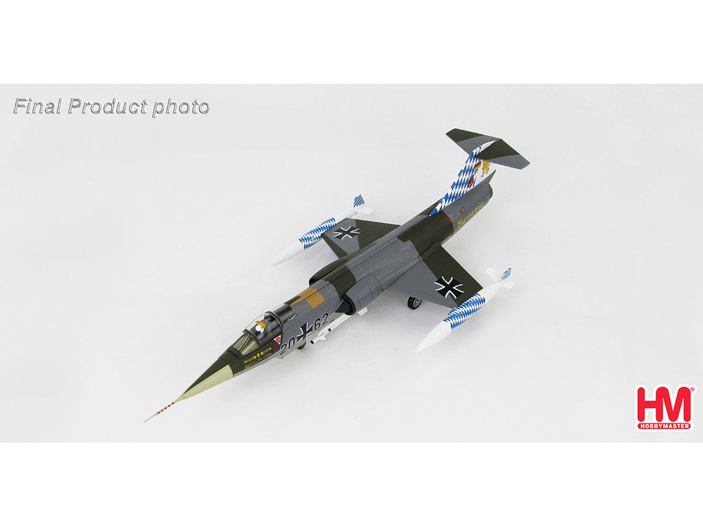 1/72 Lockheed F-104G Starfighter 20+62 JG.32 Bavaria Luftwaffe July 1983 Hobby Master HA1035  ~ top view ~ taken by DiecastBase