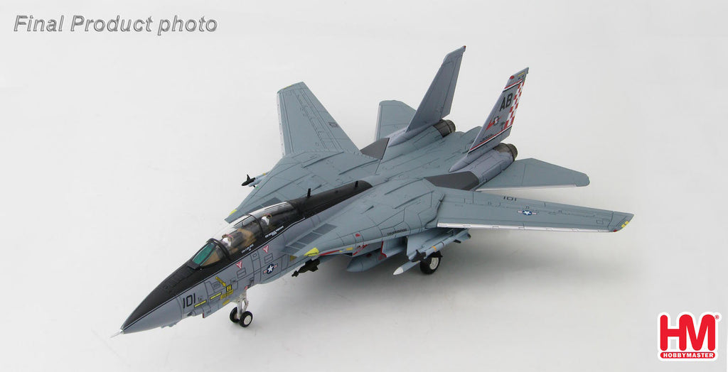 "HOBBYMASTER HA5201 1/72 F-14 F-14A Tomcat U.S.NAVY USS Enterprise (CVN-65) VF-211""Fighting Checkmates"" CO 2004 Diecast Military Aircraft Jet"