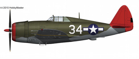 "HOBBYMASTER HA8454 1/48 P-47 P-47D ""Tuskegee"" No.34 100th FS 332nd FG Italy 1944 Military Propeller Diecast"