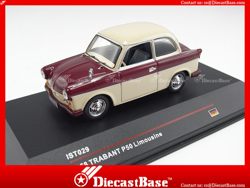 IST Models IST029 1/43 Trabant P50 Limousine 1958 Red & Beige Germany Democratic Republic 1:43 Scale Diecast Model Road Car