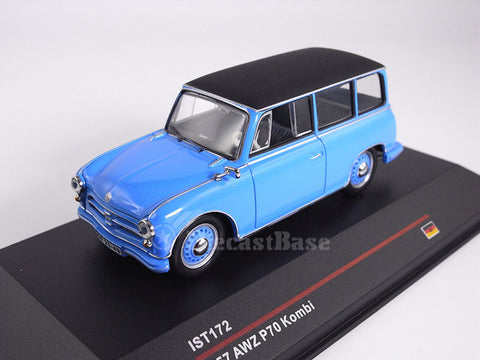 IST Models IST172 1/43 AWZ P70 Kombi 1957 Blue and Black Roof Germany Democratic Republic Diecast Model Road Car