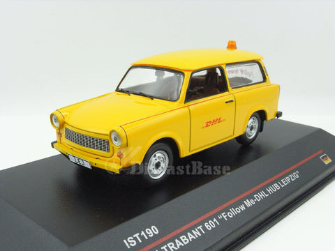 "IST IST190 1/43 Trabant 601 2001 ""Follow Me - DHL HUB LEIPZIG"" Diecast Model Road Car"