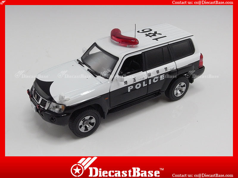 J-Collection JC135 Nissan Safari/Patrol 2005 Japan Police Car White/Black 1/43