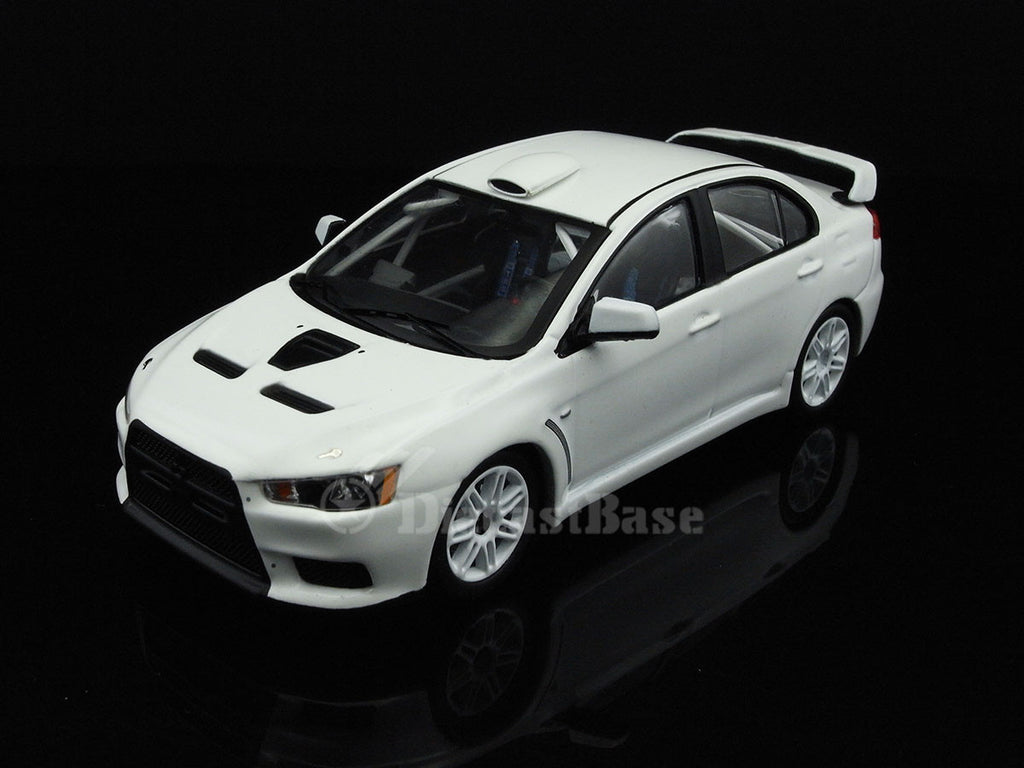 IXO MDCS006 1/43 Mitsubishi Lancer Evo X 2011 Rally Specs (2 Set of Wheels and Tyres) All White IXO Models Diecast Model Rally Racing Car