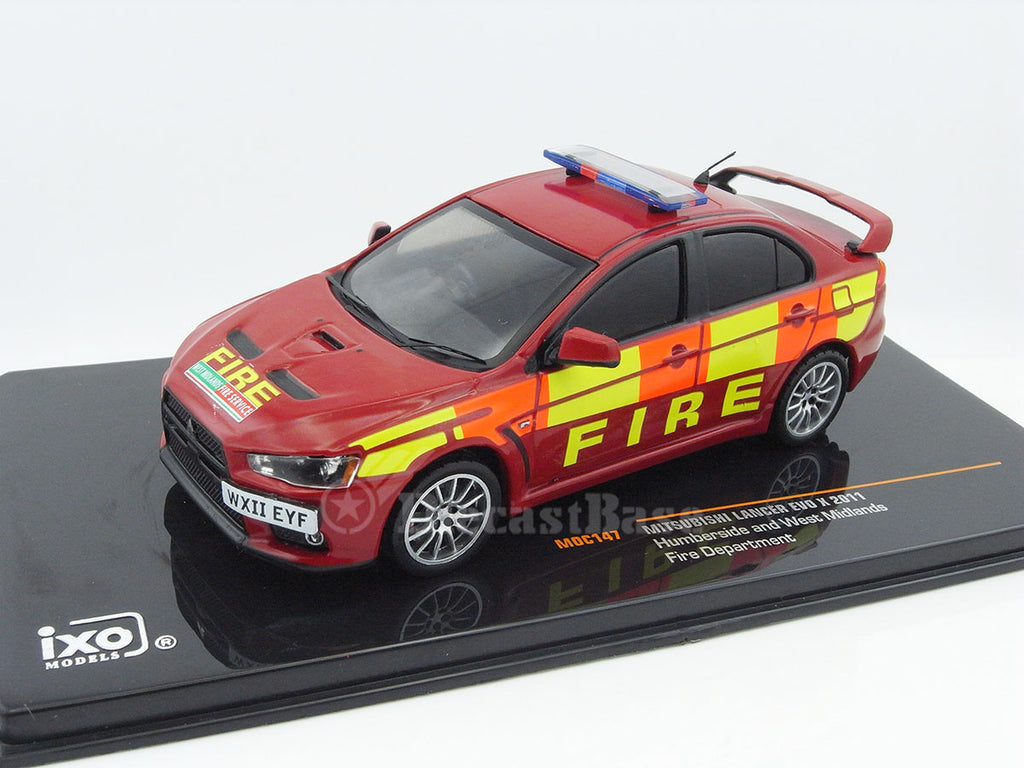 IXO MOC147 1/43 Mitsubishi Lancer EVO X 2011 Humberside and West Midlands Fire Department Diecast Model Road Car