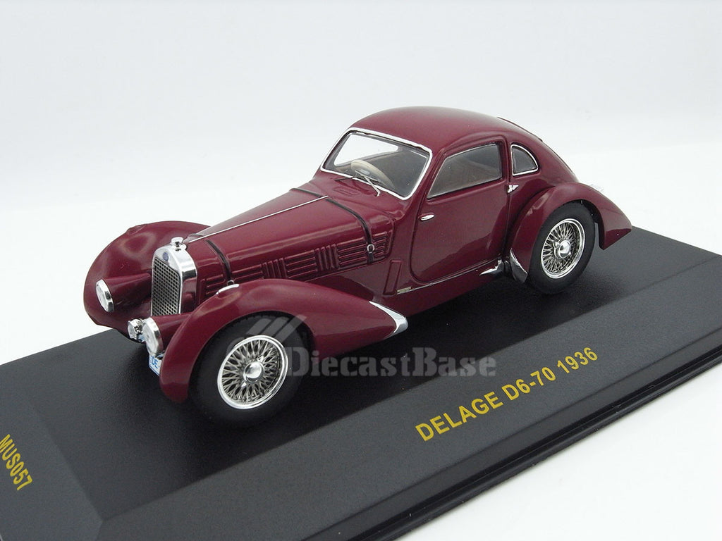 IXO MUS057 1/43 Delage D6-70 1936 Bordeaux Diecast Model Road Car