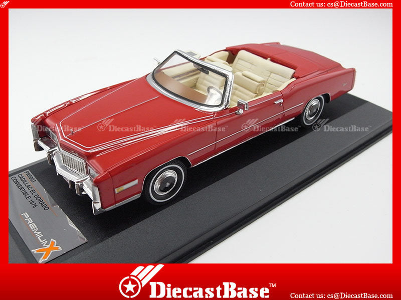 Premium X PR0003 1/43 Cadillac Eldorado Open Convertible 1976 Red with Beige Interiors 1:43 Diecast Model Road Car